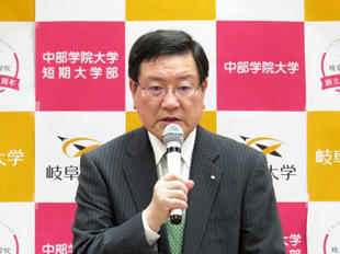 President Moriwaki giving a speech
